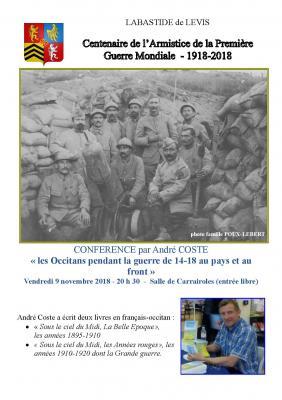 Affiche conference Alain Coste le 09 novembre 2018 à Labastide