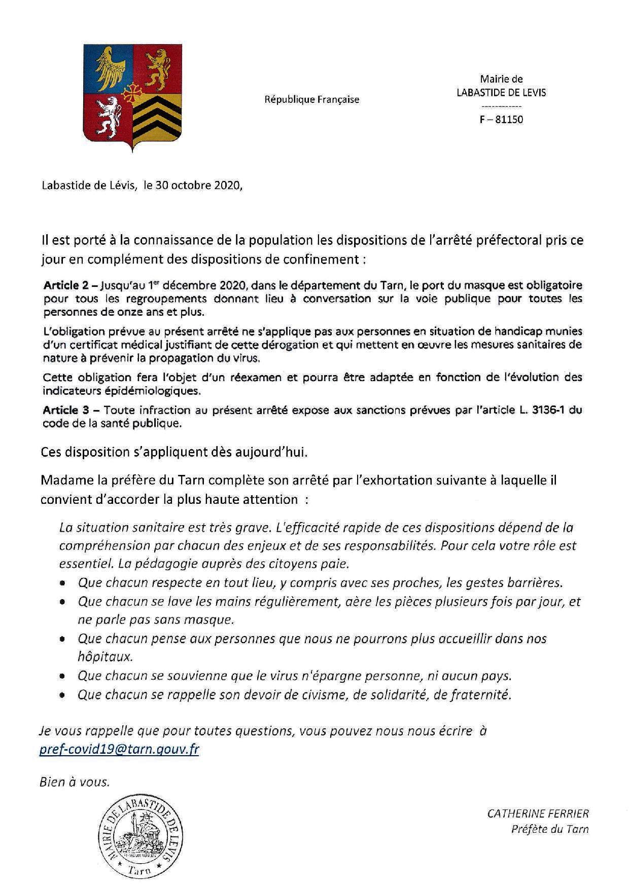 201030 information prefecture relayee mairie labasttide